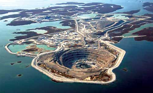 A diamond mine on Baffin Island.
