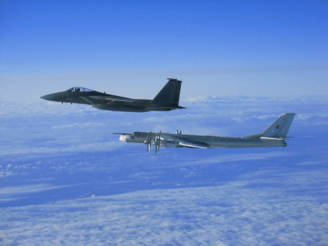 "The Royal Canadian Air Force escorts a Russian ""Bear"" bomber out of Nunavut airspace in 2011."